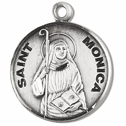 HMH Religious St Monica Sterling Silver Patron Saint of Abuse Medal Necklace