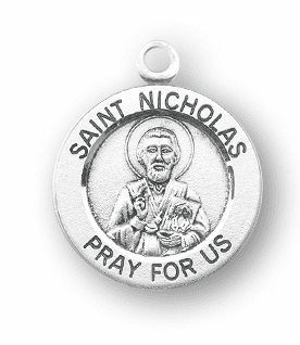 HMH Religious St Nicholas in Bishops Clothing w/Book Sterling Silver Pendant Necklace