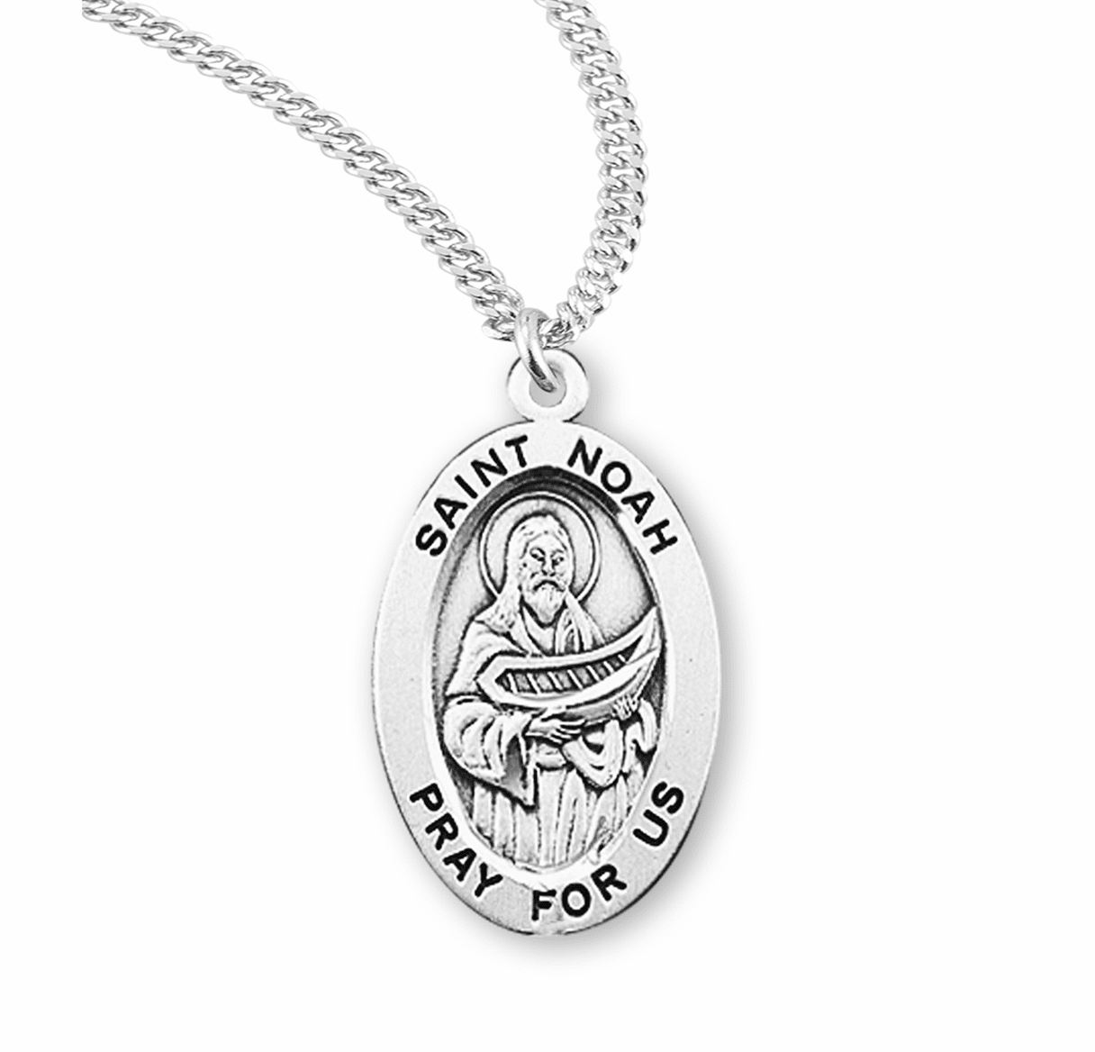 HMH Religious St Noah Ark Catholic Saint Sterling Silver Medal Necklace