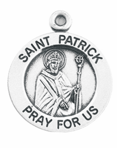 HMH Religious St Patrick holding a Staff with Snakes Sterling Silver Pendant Necklace