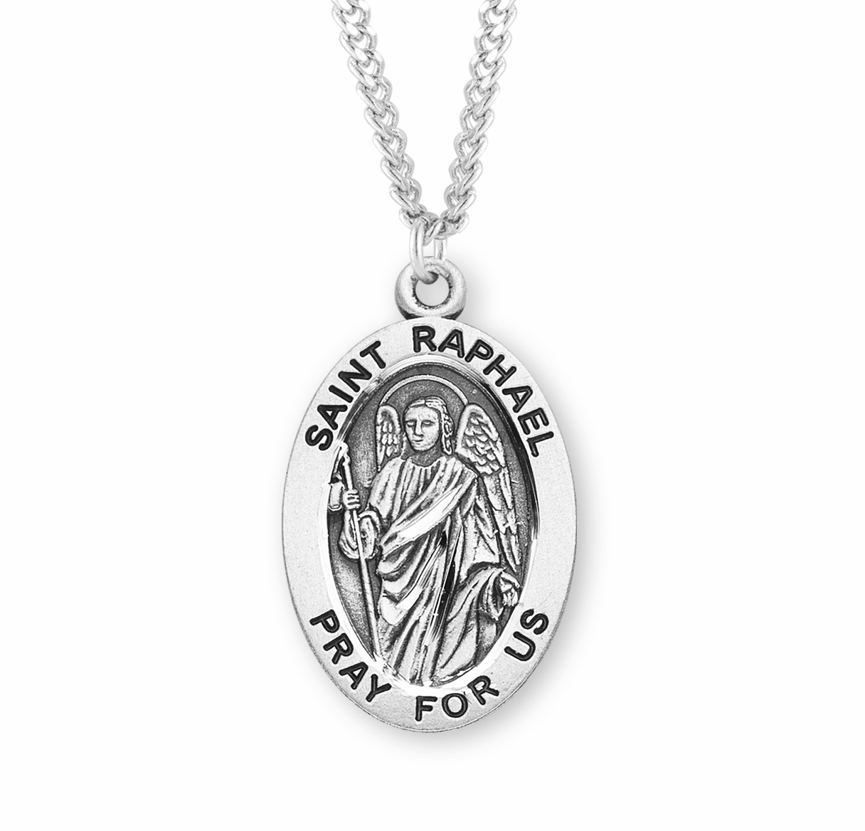 HMH Religious St Raphael Archangel Large Sterling Silver Medal Necklace