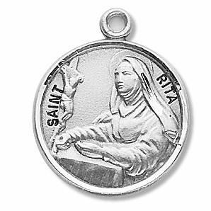 HMH Religious St Rita of Cascia Sterling Silver Patron Saint of Loneliness Necklace
