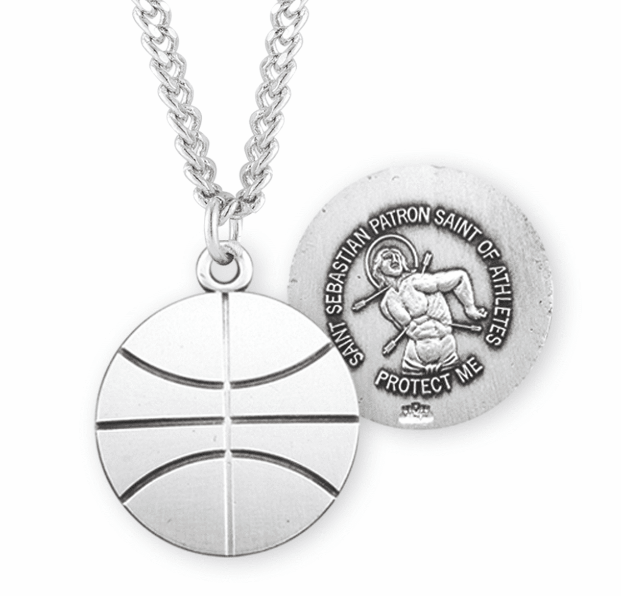 HMH Religious St Sebastian Basketball Sports Medal Necklace