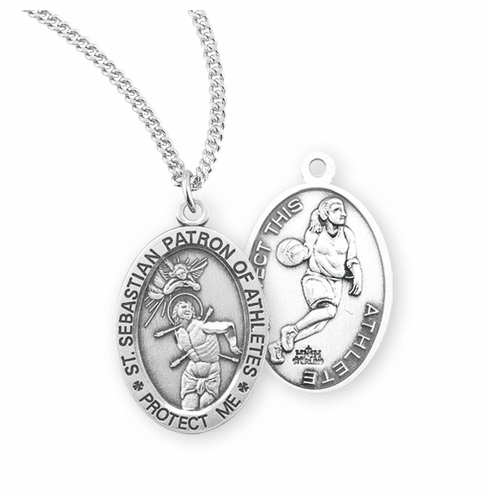 HMH Religious St Sebastian Female Basketball Sterling Silver Sports Necklace