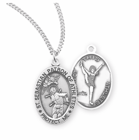 HMH Religious St Sebastian Female Cheerleading Sterling Silver Sports Necklace