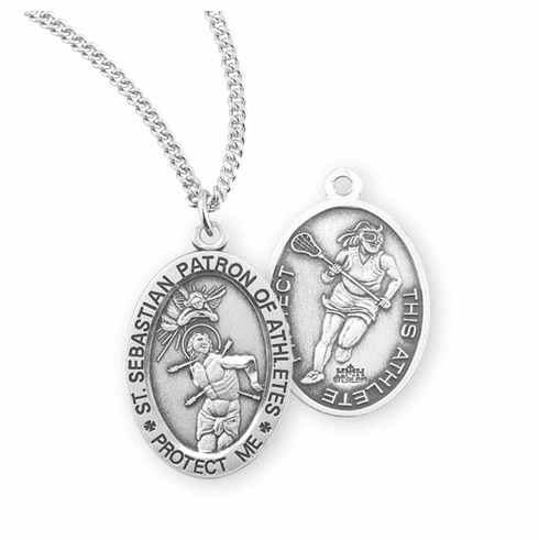 HMH Religious St Sebastian Female Lacrosse Sterling Silver Sports Necklace