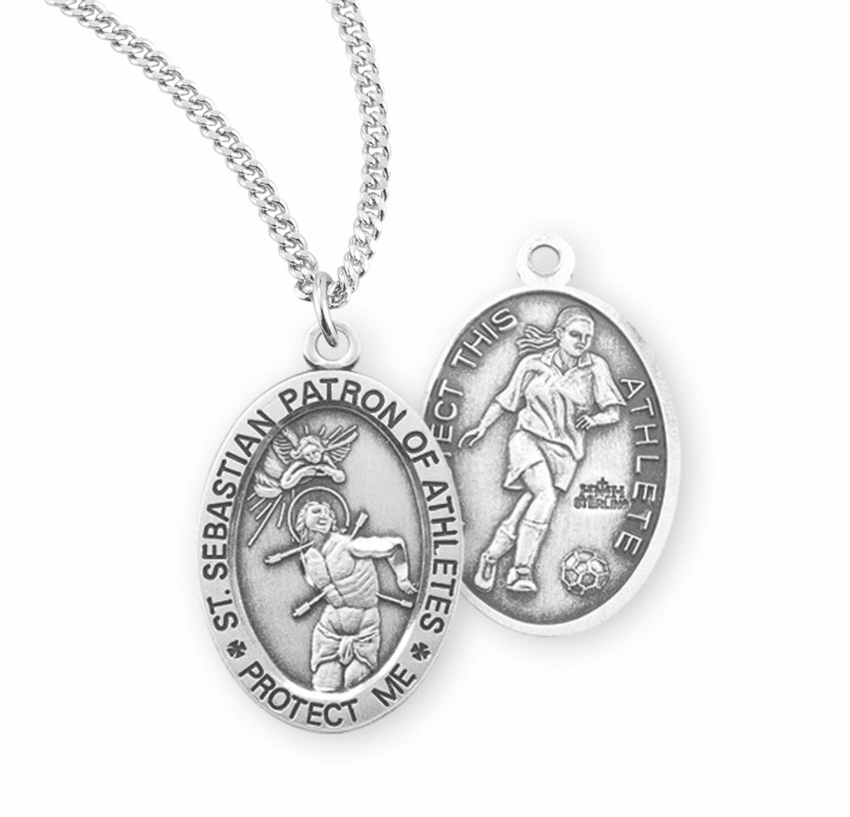 HMH Religious St Sebastian Female Soccer Sterling Silver Sports Necklace