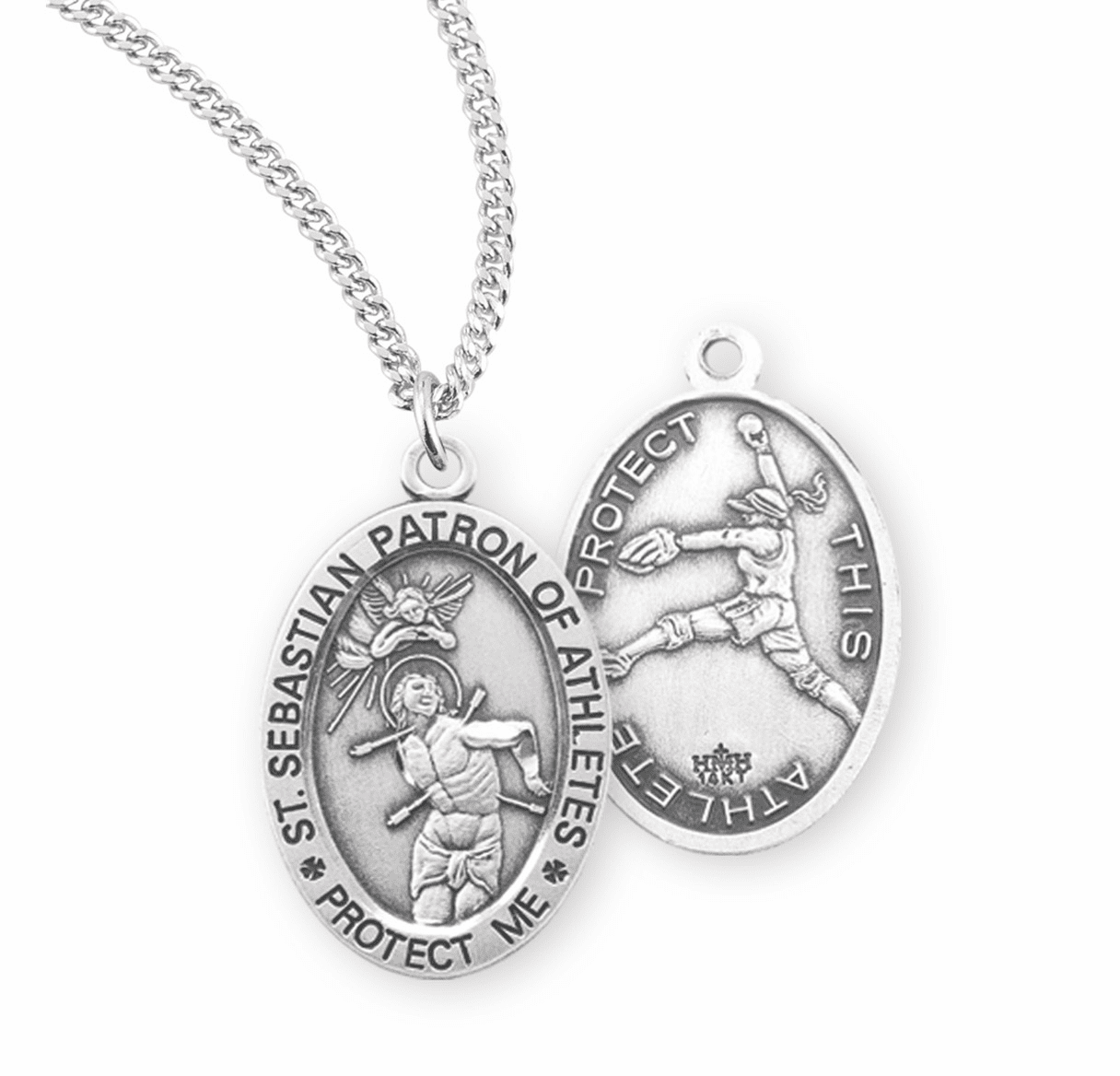 HMH Religious St Sebastian Female Softball Sterling Silver Sports Necklace