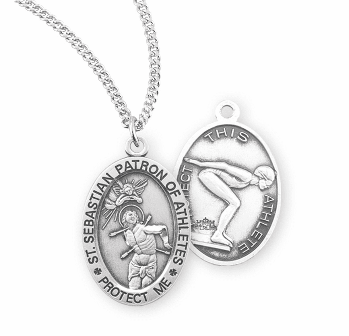 HMH Religious St Sebastian Female Swimming Sterling Silver Sports Necklace