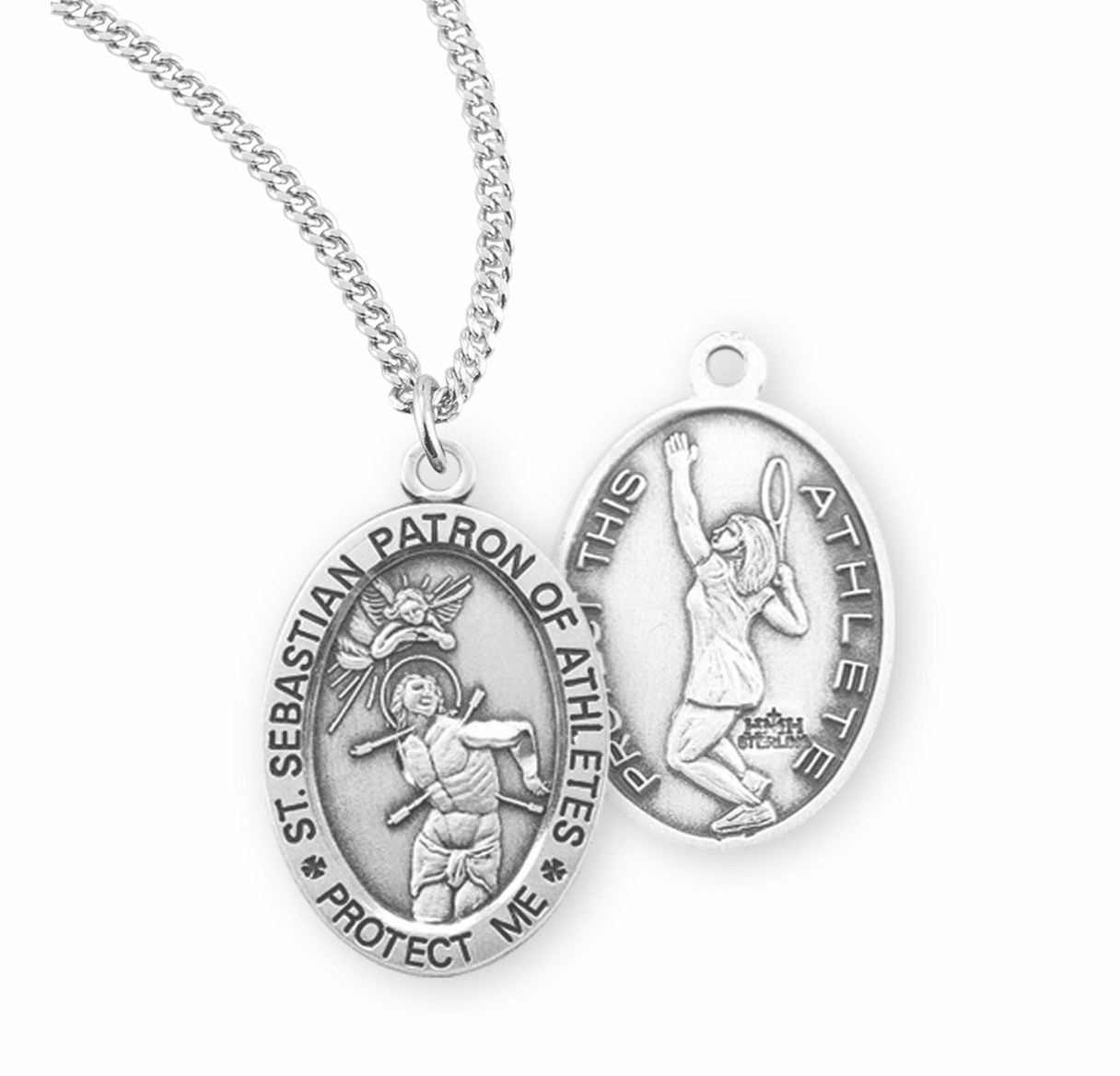 HMH Religious St Sebastian Female Tennis Sterling Silver Sports Necklace