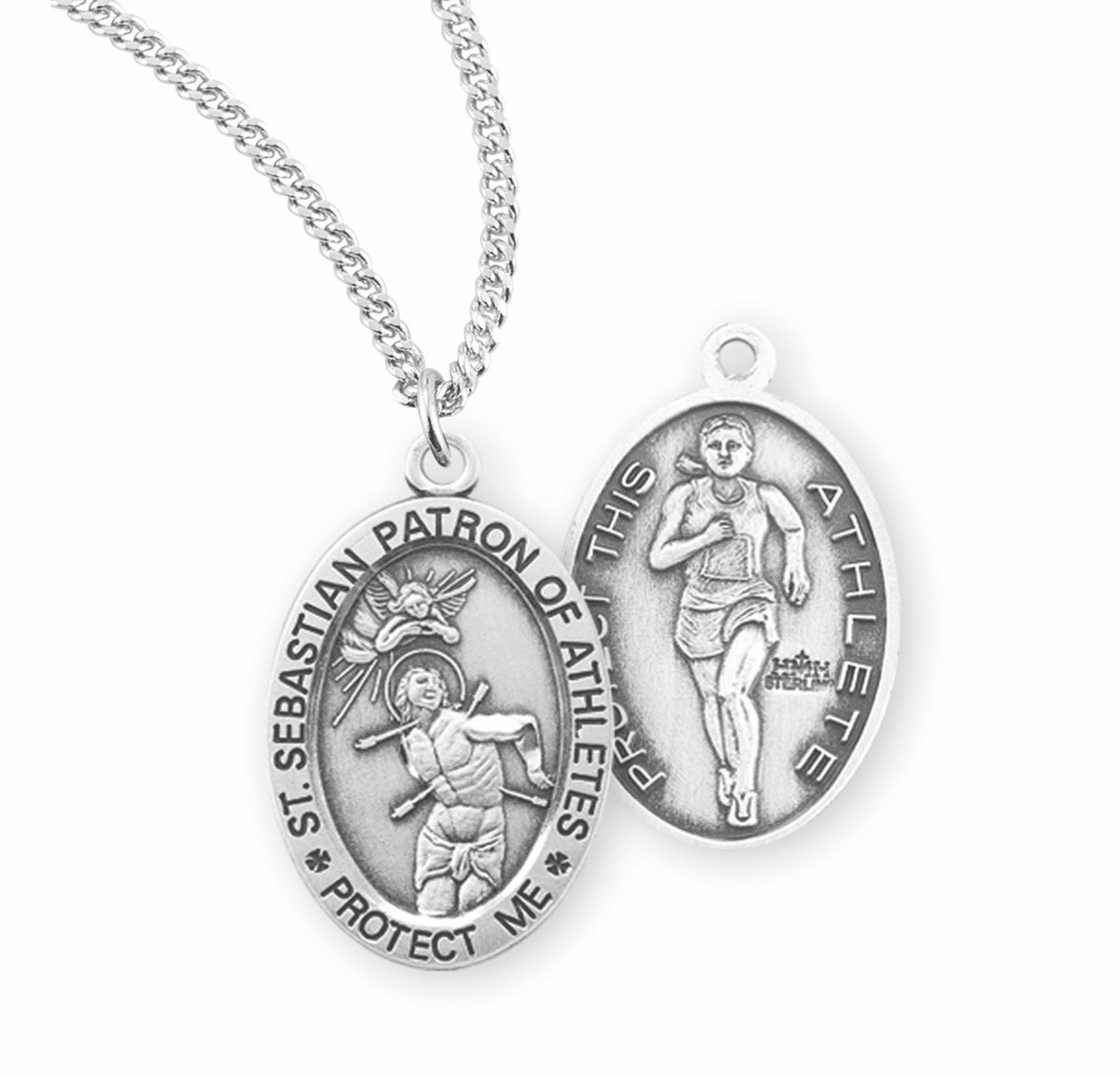 HMH Religious St Sebastian Female Track and Field Sterling Silver Sports Necklace
