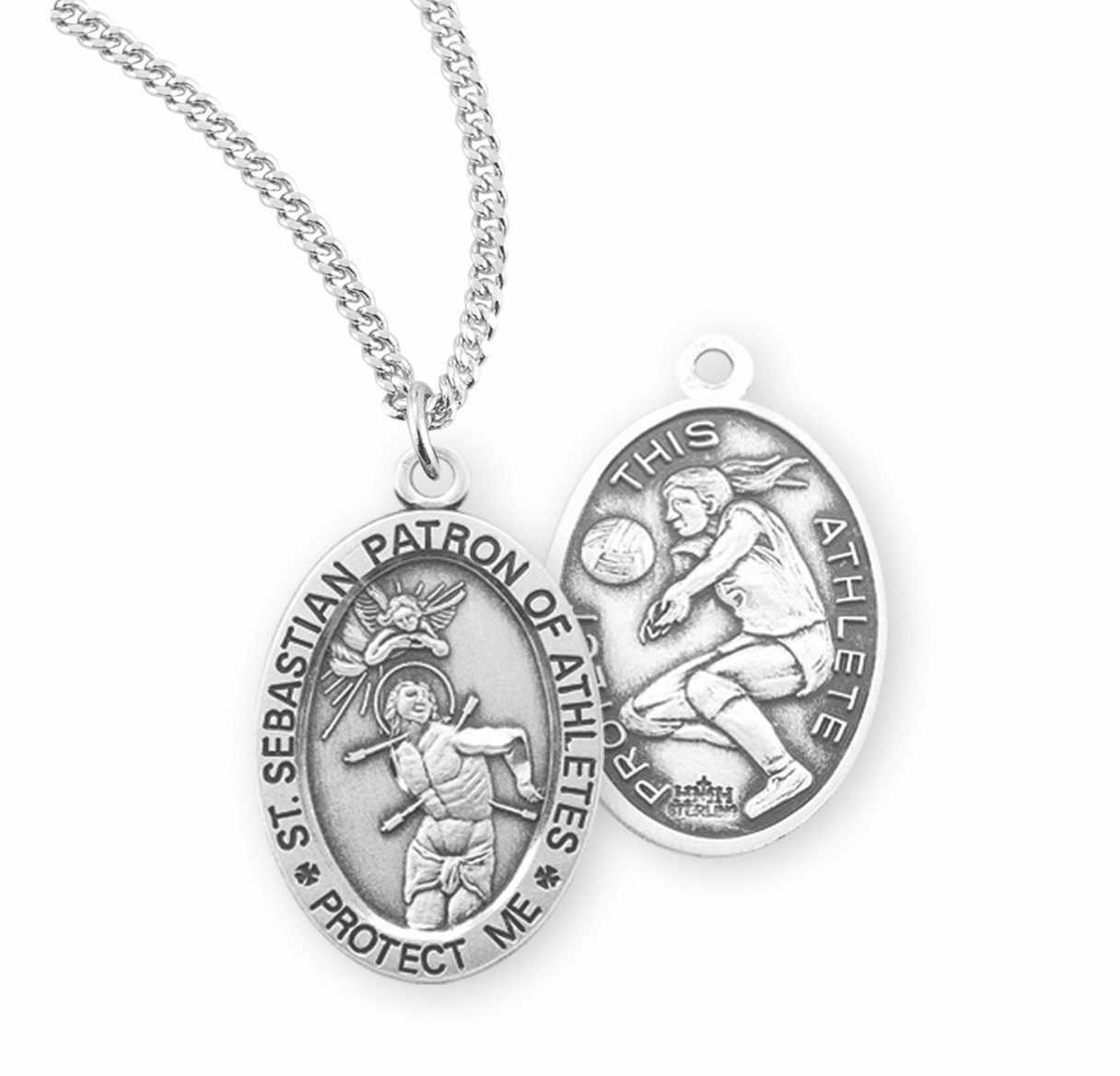 HMH Religious St Sebastian Female Volleyball Sterling Silver Sports Necklace
