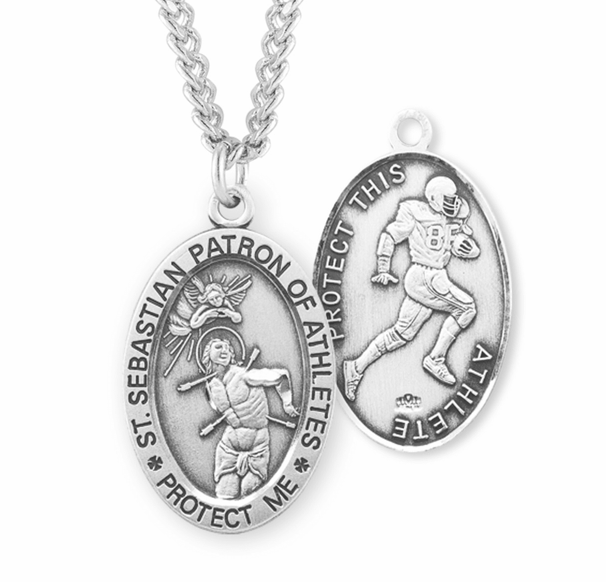 HMH Religious St Sebastian Football Sterling Silver Sports Necklace