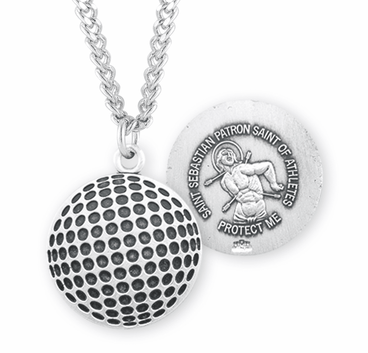 HMH Religious St Sebastian Golf Ball Sports Necklace