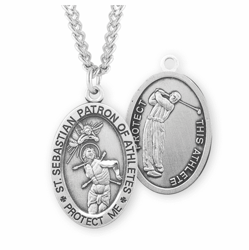 HMH Religious St Sebastian Golf Oval Sterling Silver Sports Necklace
