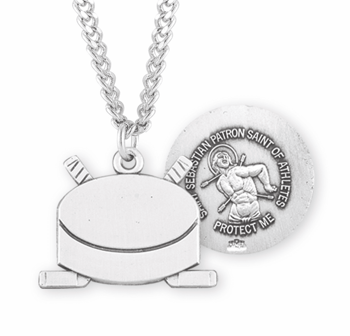 HMH Religious St Sebastian Hockey Puck Sports Necklace