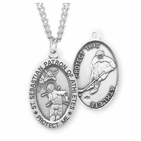 HMH Religious St Sebastian Hockey Sports Medal Necklace