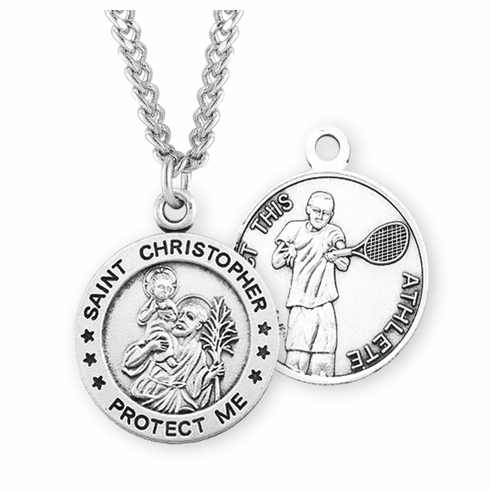 HMH Religious St Sebastian Round Tennis Sports Saint Medal Necklace