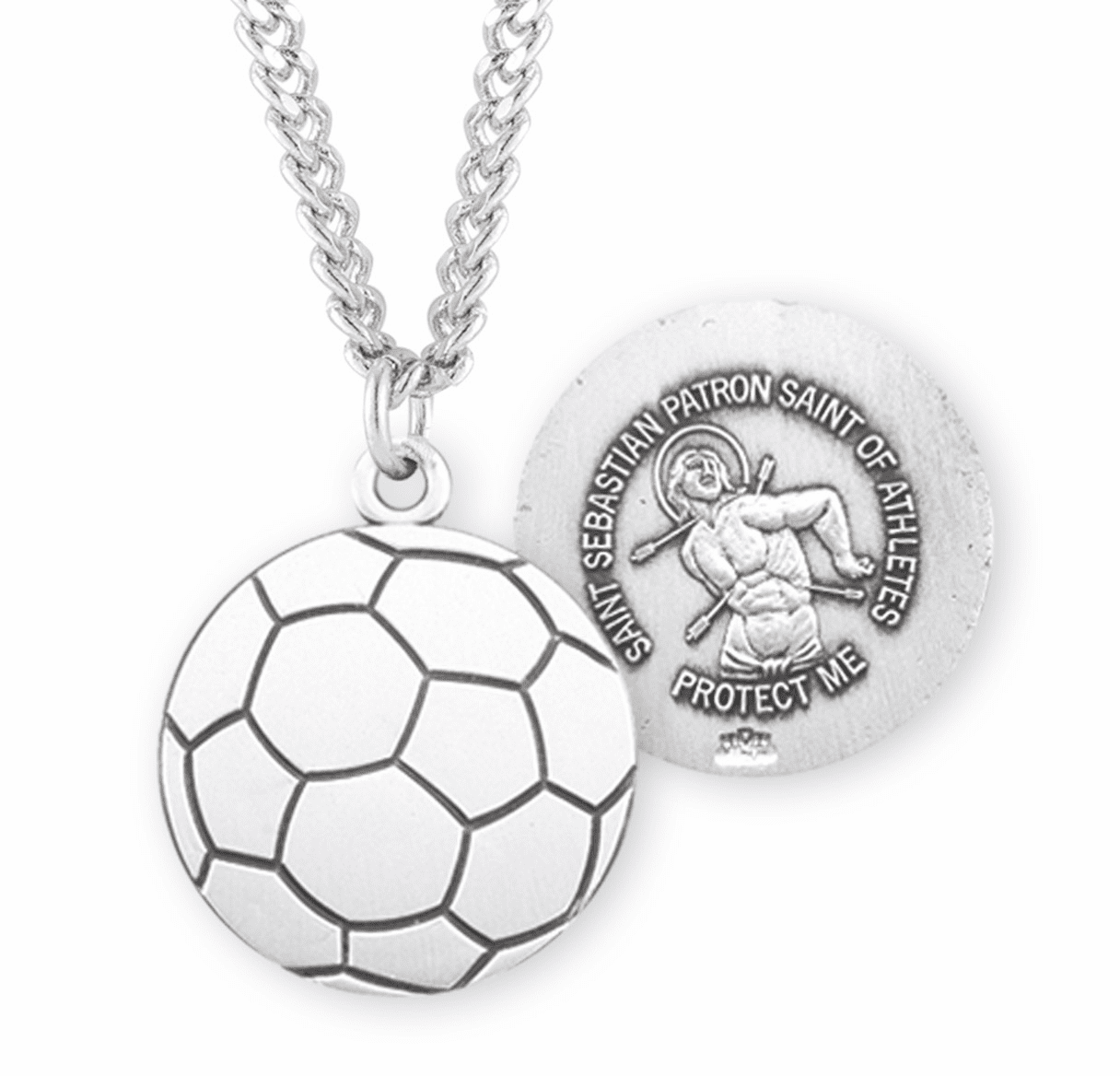 HMH Religious St Sebastian Soccer Ball Sports Necklace