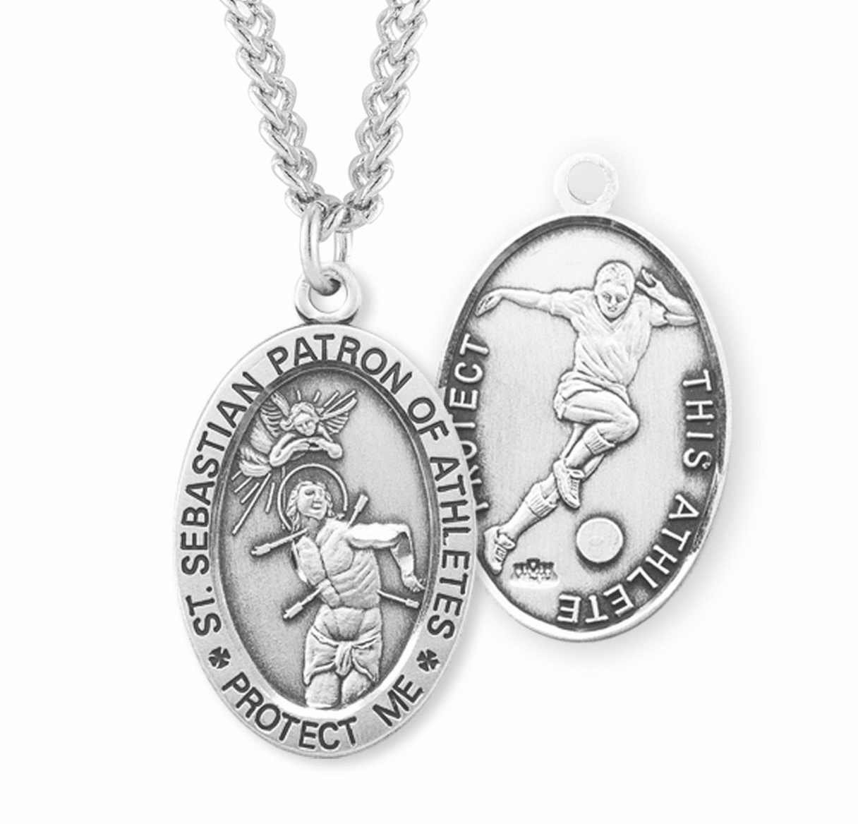 HMH Religious St Sebastian Soccer Oval Sterling Silver Sports Necklace