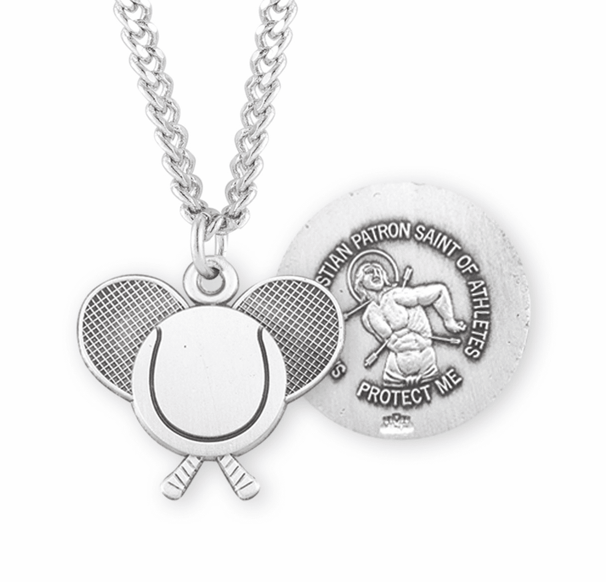 HMH Religious St Sebastian Sterling Silver Tennis Medal Necklace