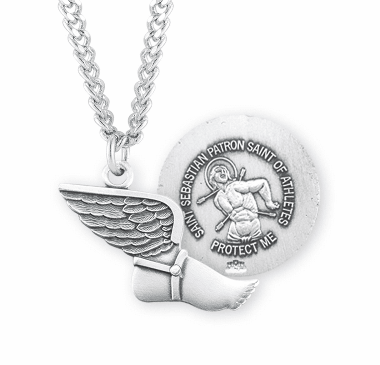 HMH Religious St Sebastian Sterling Silver Track and Field Medal Necklace