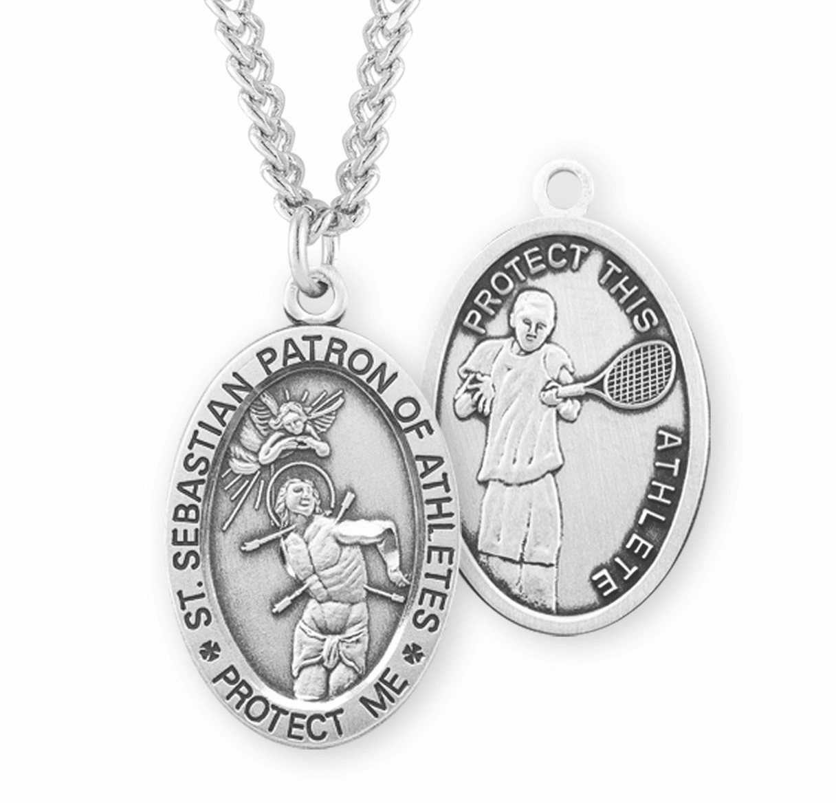 HMH Religious St Sebastian Tennis Oval Sterling Silver Sports Necklace