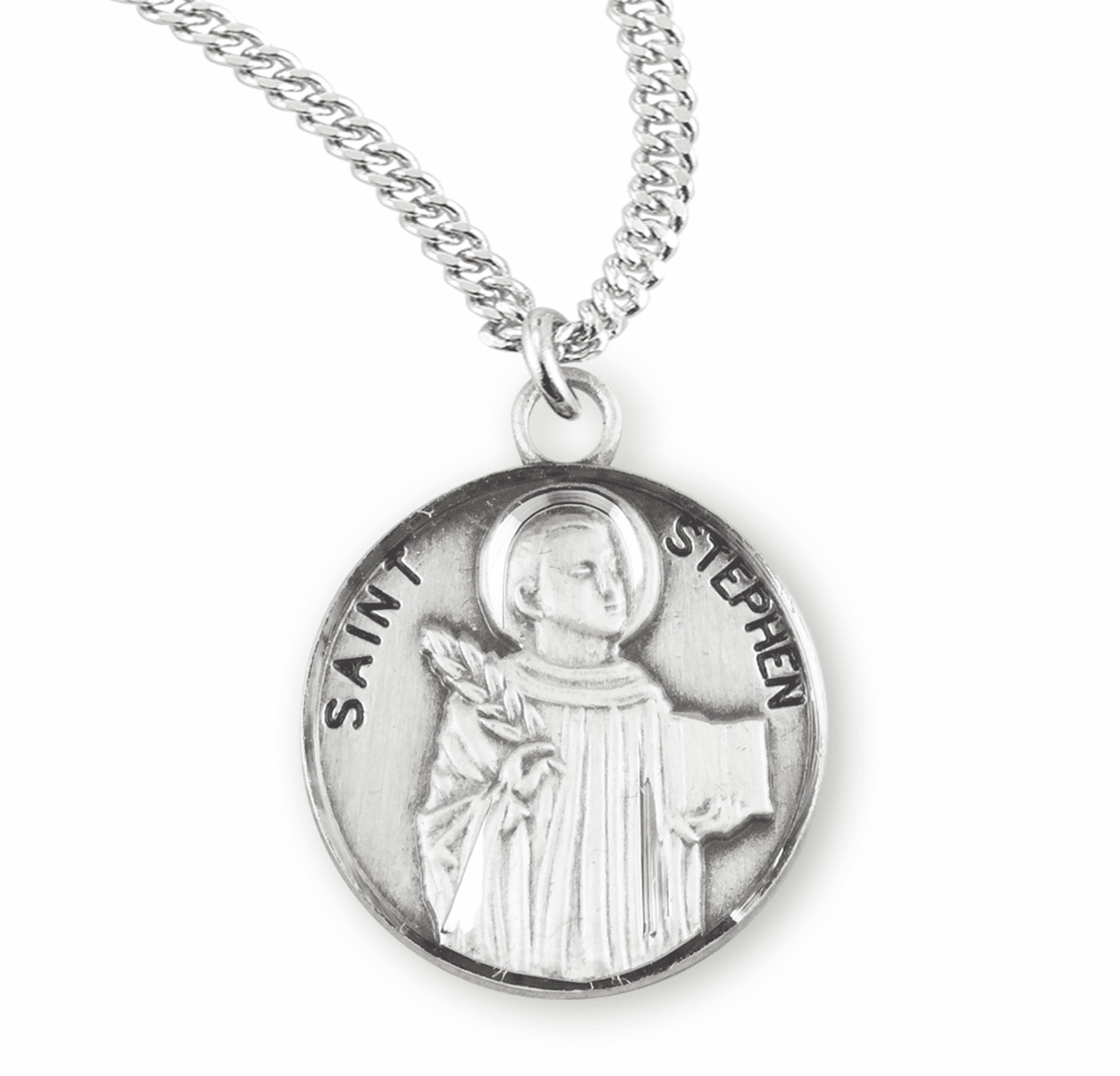 HMH Religious St Stephen the Martyr Sterling Silver Patron Saint Necklace