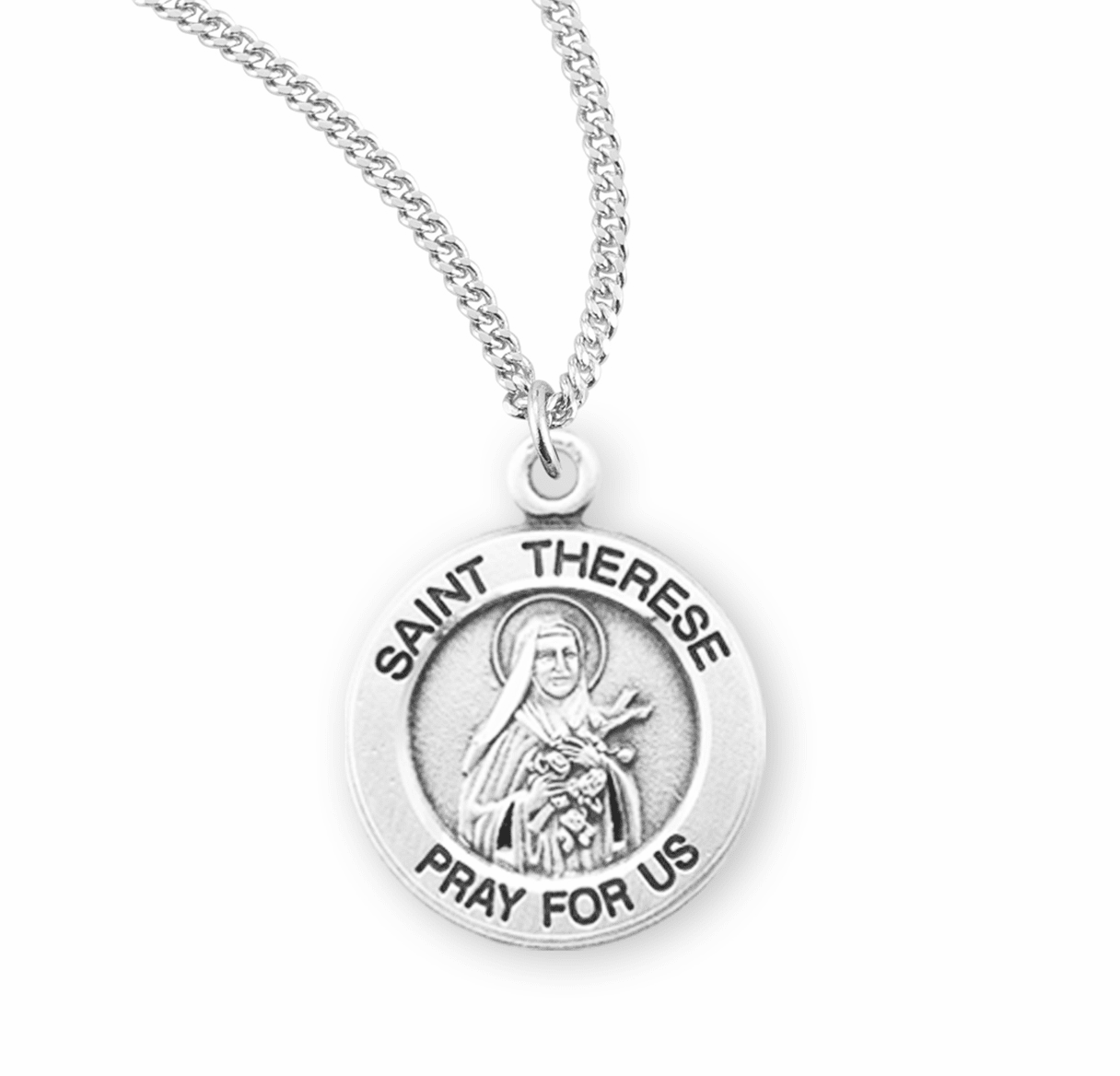 HMH Religious St Therese of Liseaux w/Cascading Roses Sterling Pendant Necklace