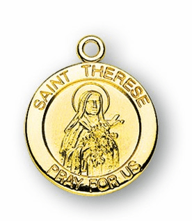 HMH Religious St Therese of Liseaux with cascading Roses Gold/Sterling Pendant Necklace