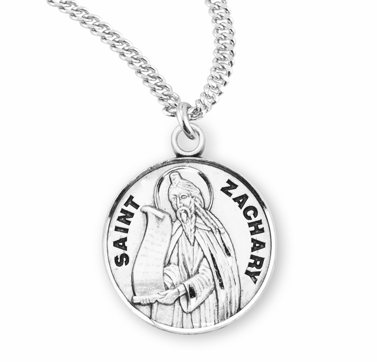 HMH Religious St Zachary Sterling Silver Patron Saint of Children Necklace