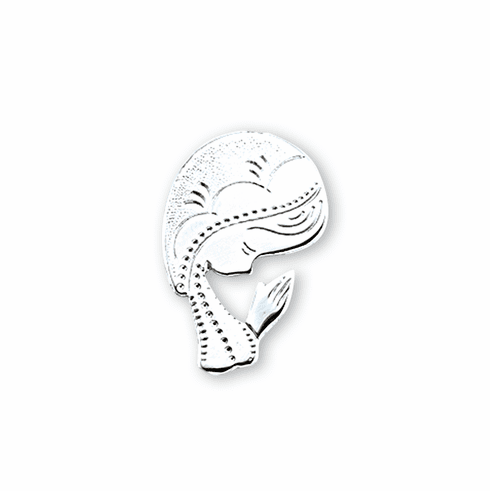 HMH Religious Sterling Contemporary Madonna Lapel Pin with Deluxe Screw