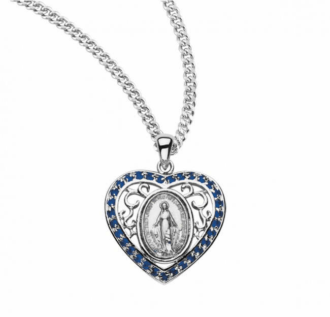 HMH Religious Sterling Sapphire Heart Miraculous Medal Necklace