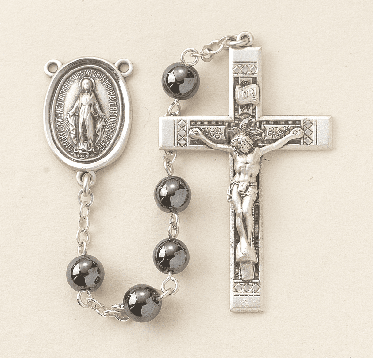 HMH Religious Sterling Silver 6mm Hematite Catholic Prayer Rosary