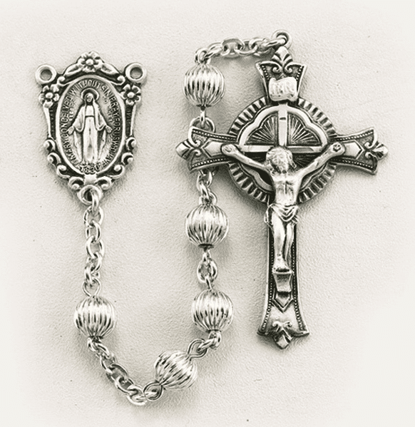 HMH Religious Sterling Silver 6mm Round Bead Rosary