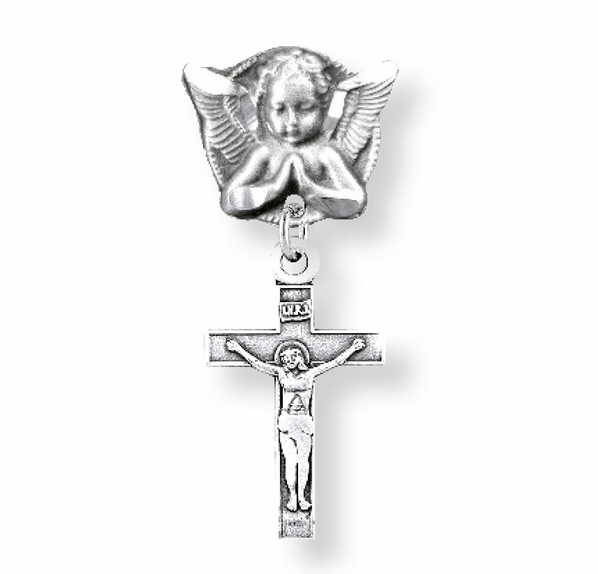 HMH Religious Sterling Silver Baby Crucifix w/Angel Badge Pin