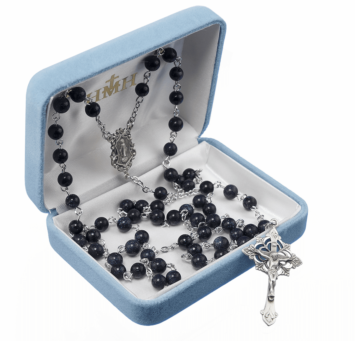 HMH Religious Sterling Silver Blue Gold Sand Gemstone Catholic Prayer Rosary
