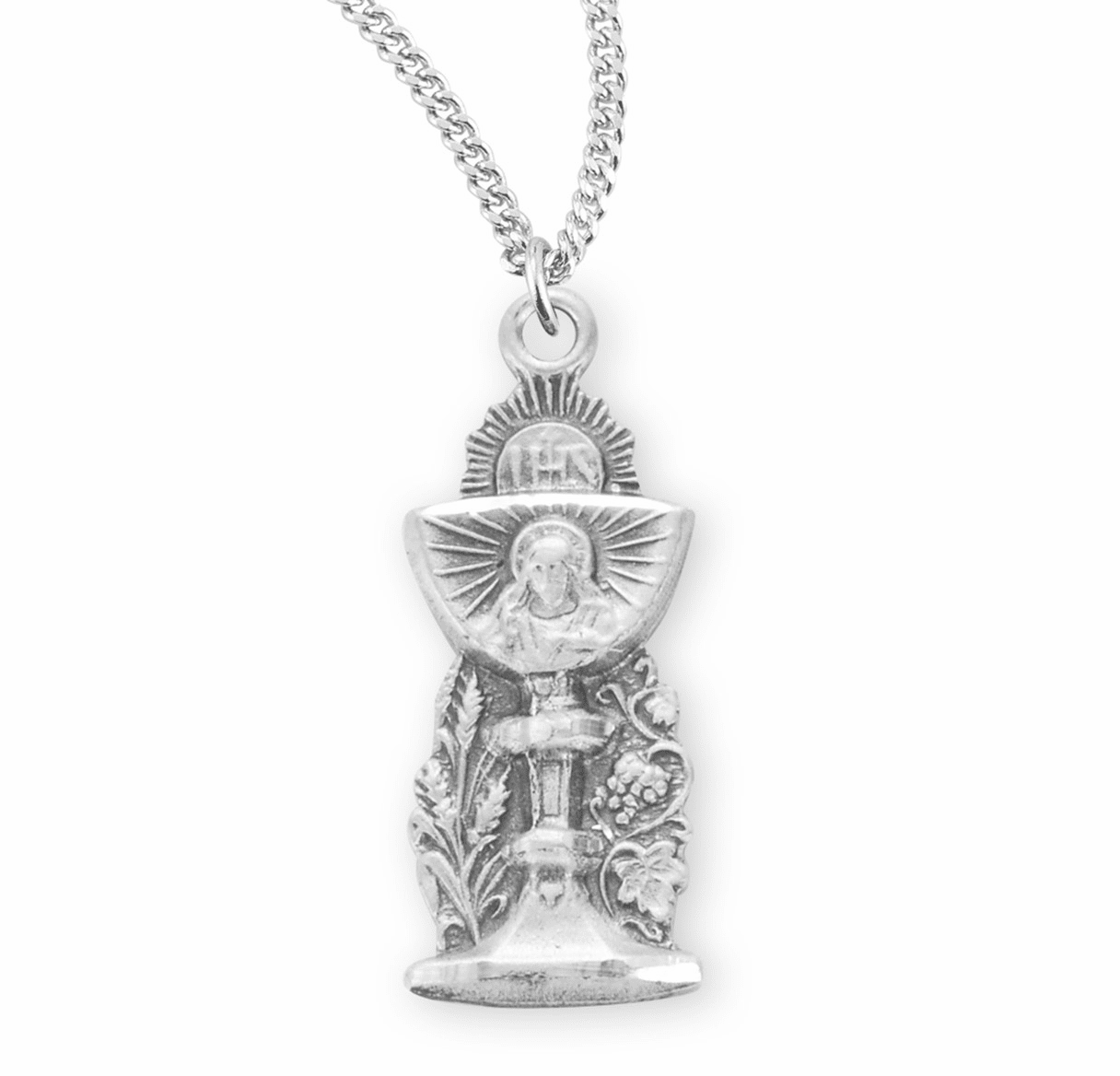 HMH Religious Sterling Silver Chalice 1st Communion Chalice Medal Necklace