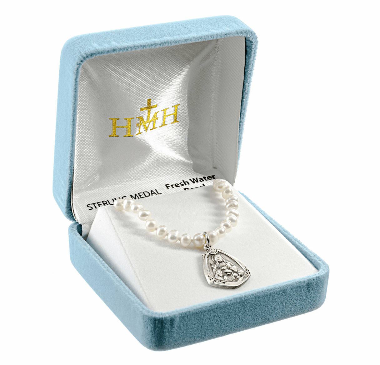 HMH Religious Sterling Silver Communion Jesus Freshwater Pearls Necklace