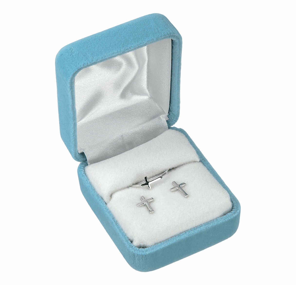 HMH Religious Sterling Silver Cross Earrings and Ring Gift Set