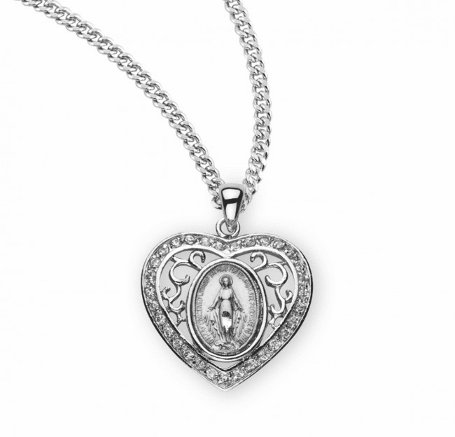 HMH Religious Sterling Silver Crystal Heart Miraculous Medal Necklace
