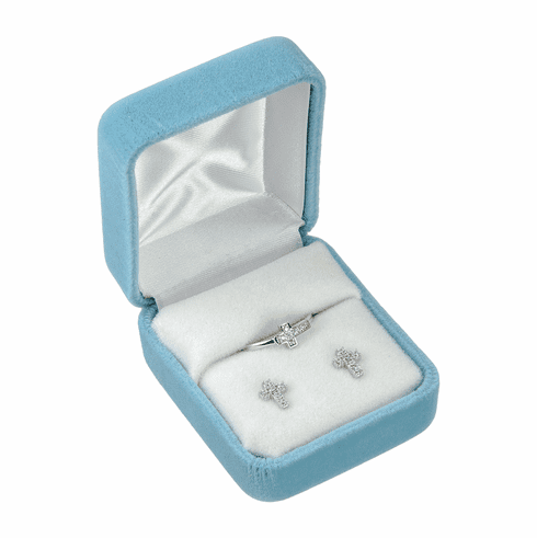 HMH Religious Sterling Silver Cubic Zironia Cross Earrings and Ring Gift Set