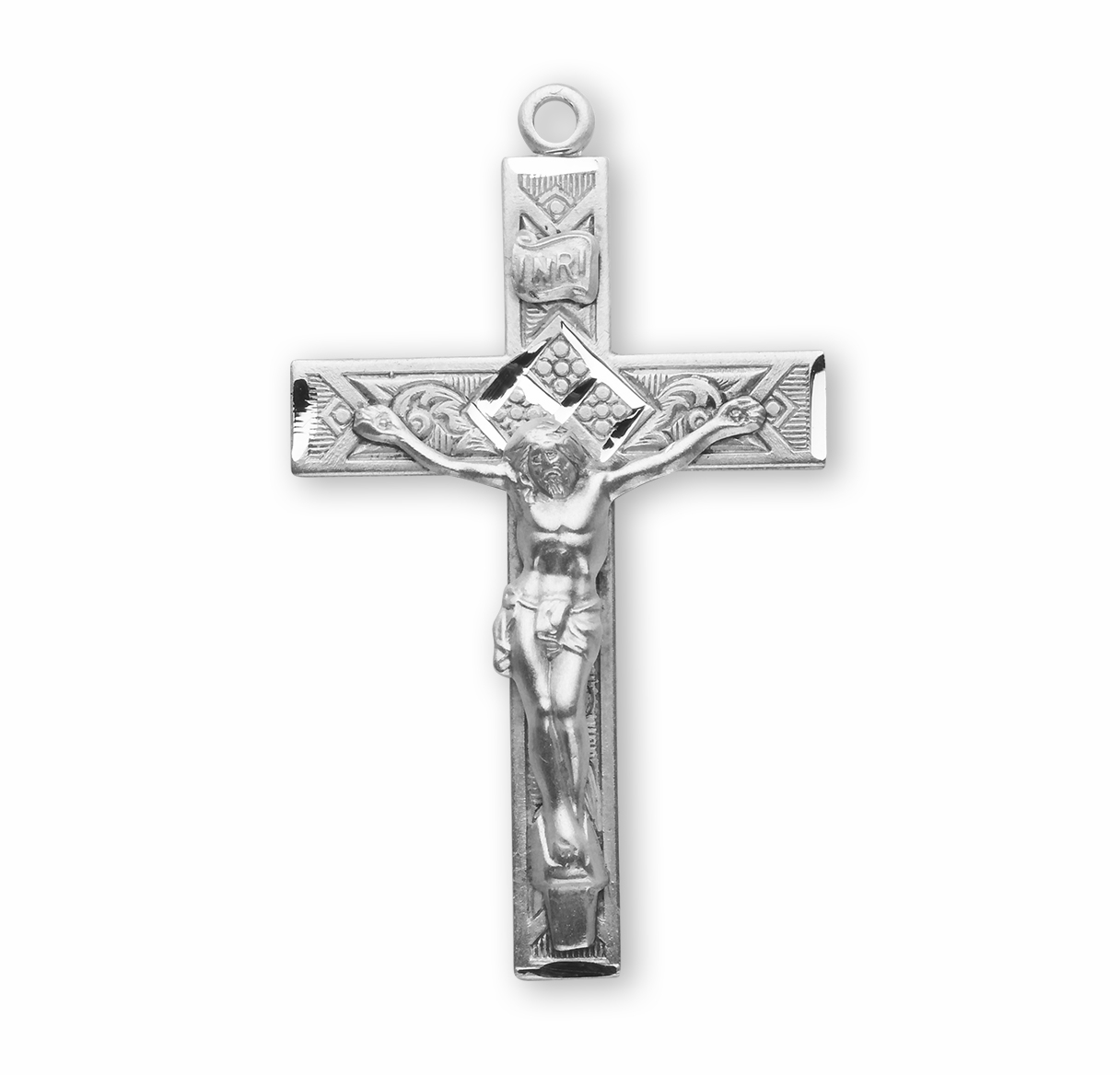 HMH Religious Sterling Silver Detailed Crucifix Cross Necklace