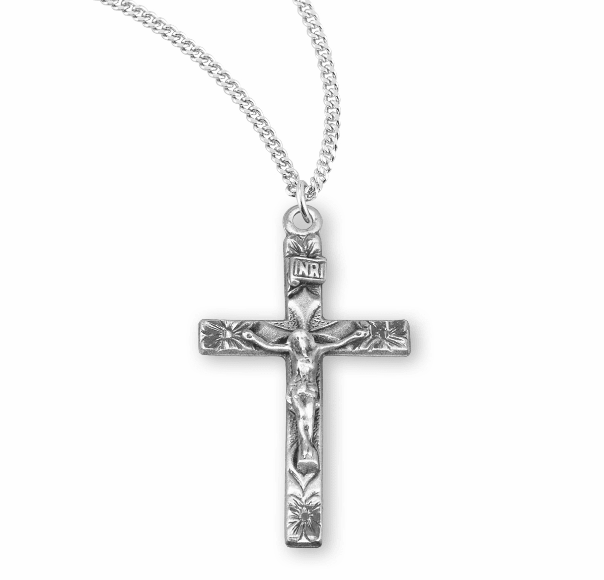 HMH Religious Sterling Silver Flowered Tip Crucifix Necklace