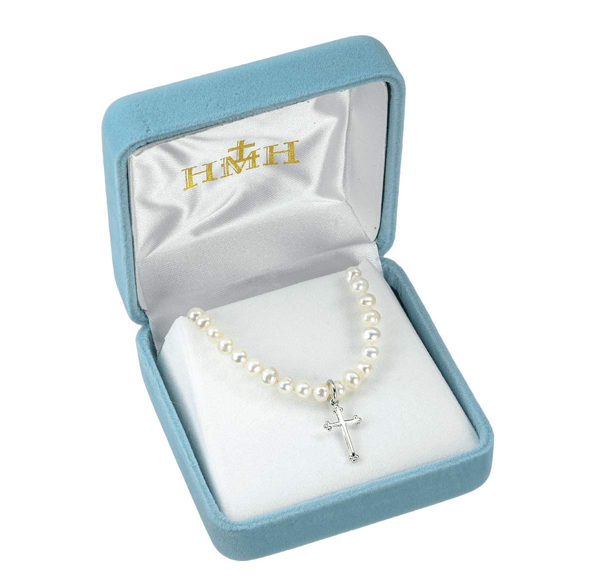 HMH Religious Sterling Silver Freshwater Pearls Cross Necklace