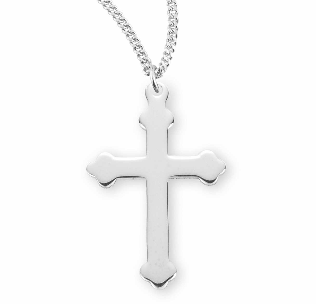 HMH Religious Sterling Silver High Polished Plain Cross Necklace