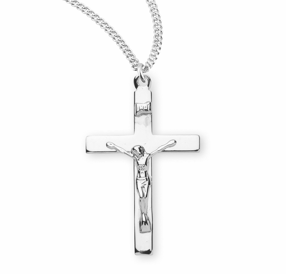 HMH Religious Sterling Silver Highly Polished Crucifix Necklace