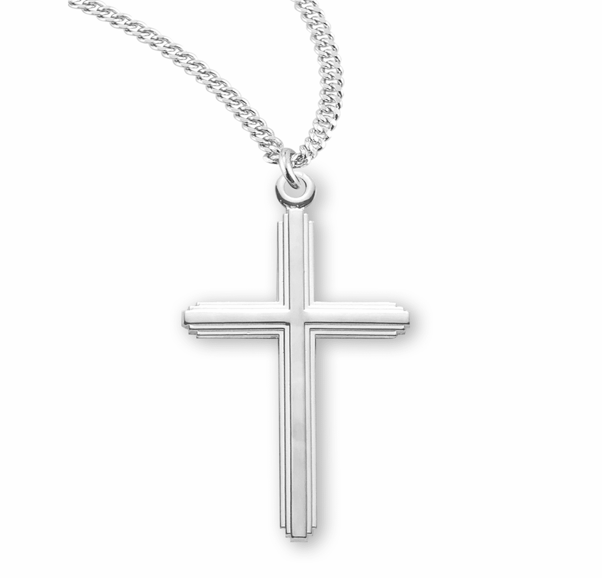 HMH Religious Sterling Silver Inlayed Double Cross Necklace