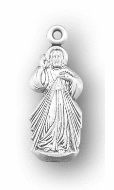 HMH Religious Sterling Silver Jesus Divine Mercy Medal w/Chain