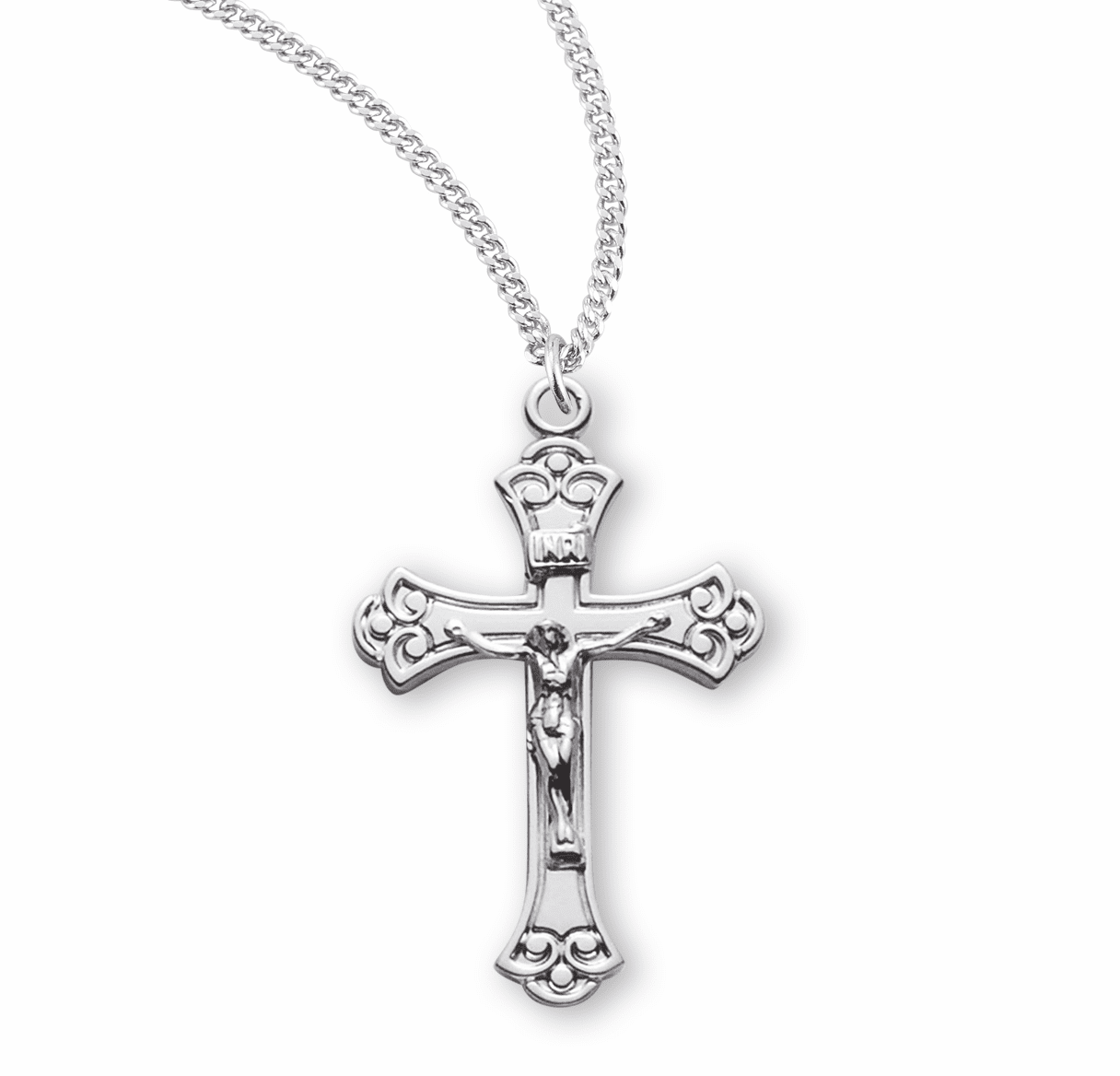 HMH Religious Sterling Silver Medium Fancy Swirl Tipped Crucifix Necklace